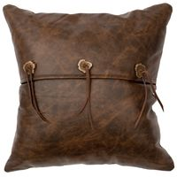 Texas Leather Pillow with Flap