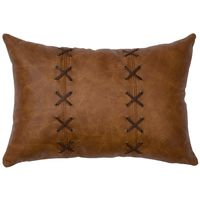 Whiskey Leather Pillow with Deerskin Lacing
