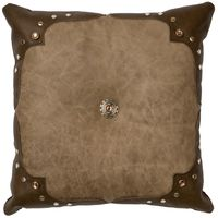 Mushroom Leather Pillow with Caribou Leather Corners