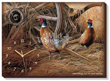Autumn Glow - Pheasants Wrapped Canvas Clock