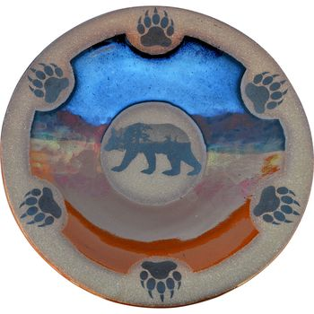 Mountain Scene Bear with Paws Small Round Platter
