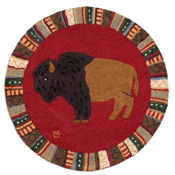 """For the Wild at Heart Round 36"""" Hooked Rug"""
