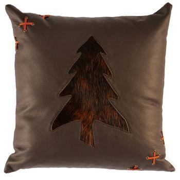 Mesa Espresso Leather Pillow Dark Brindled Hair on Hide