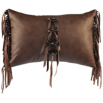 Harness Leather Pillow with Fringe and Buttons