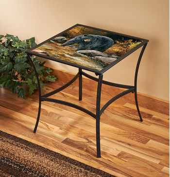 Streamside Black Bear Metal Glass Table
